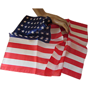 Patriotic Vintage Handkerchief in 48 Star U S Flag Design