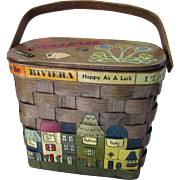 Signed Caro-Nan Picnic Basket Purse with Wood Applique Town and Travel Scene 1971 Penny