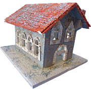Church for Christmas Holiday Village Hand Made in Wood and Glitter