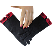 Van Raalte Gloves in Black and Red Wrist Length Woven Cotton Size 6 1/2 FREE Shipping USA