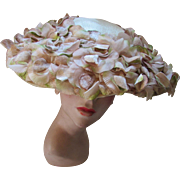Garden Party Mid Century Wide Brim Picture Hat Cascades of Lavender and Green Tipped Flowers