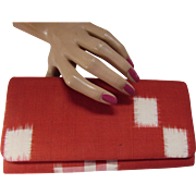 Clutch Purse in Brick Red and White Patches Fabric