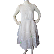 1920 Era Adolescent Girl's Organdy Summer Dress with Eyelet Flounces