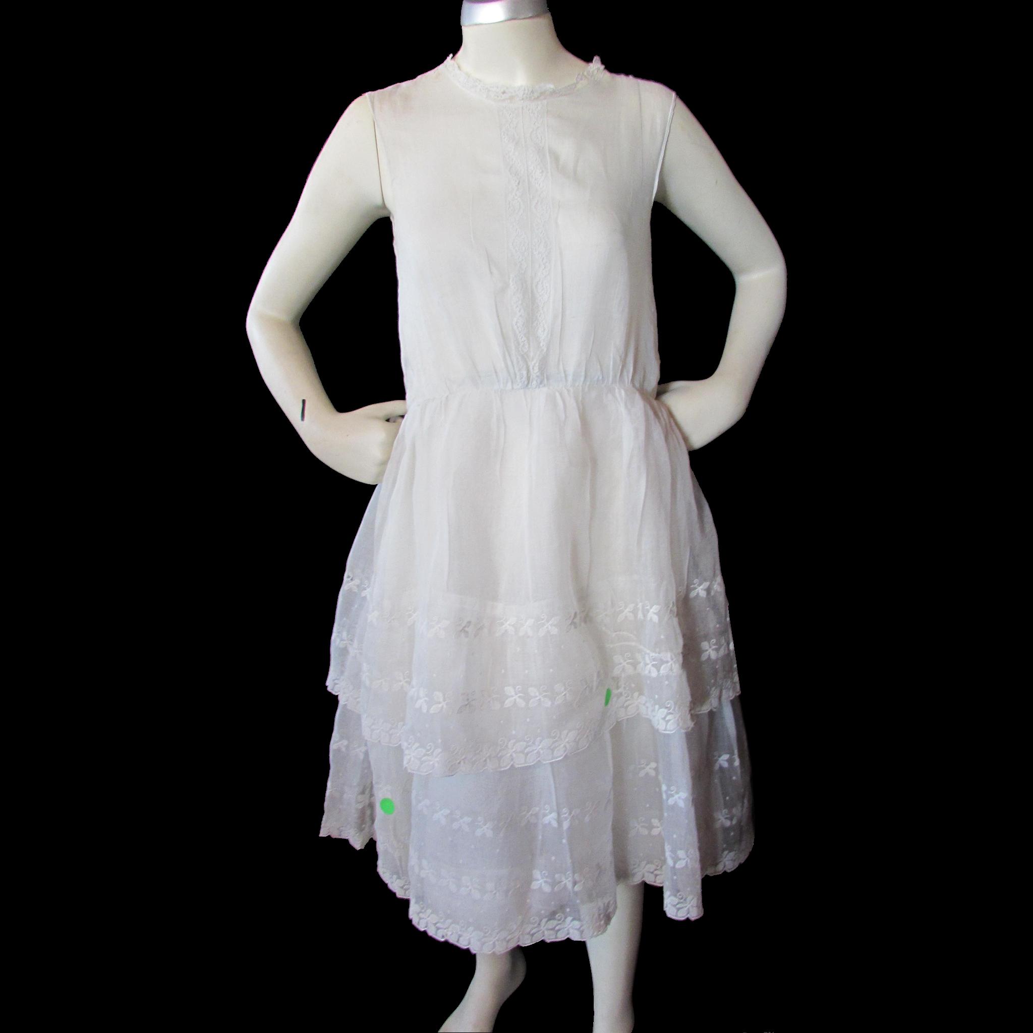 1920 Era Adolescent Girl's Organdy Summer Dress with Eyelet Flounces