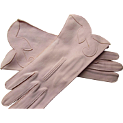 Vintage Soft Pink Gloves Wrist Length Cotton with Scrolled Front Free Shipping USA