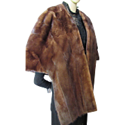 Mink Stole or Cape in Deep Brown Mid-Century Union Made