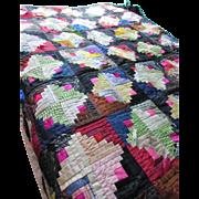 Quilt Log Cabin Design in Silks, Taffetas and Velvets Black and Fuchsia