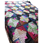 Quilt Log Cabin Design in Silks, Taffetas and Velvets Black and Fuchsia