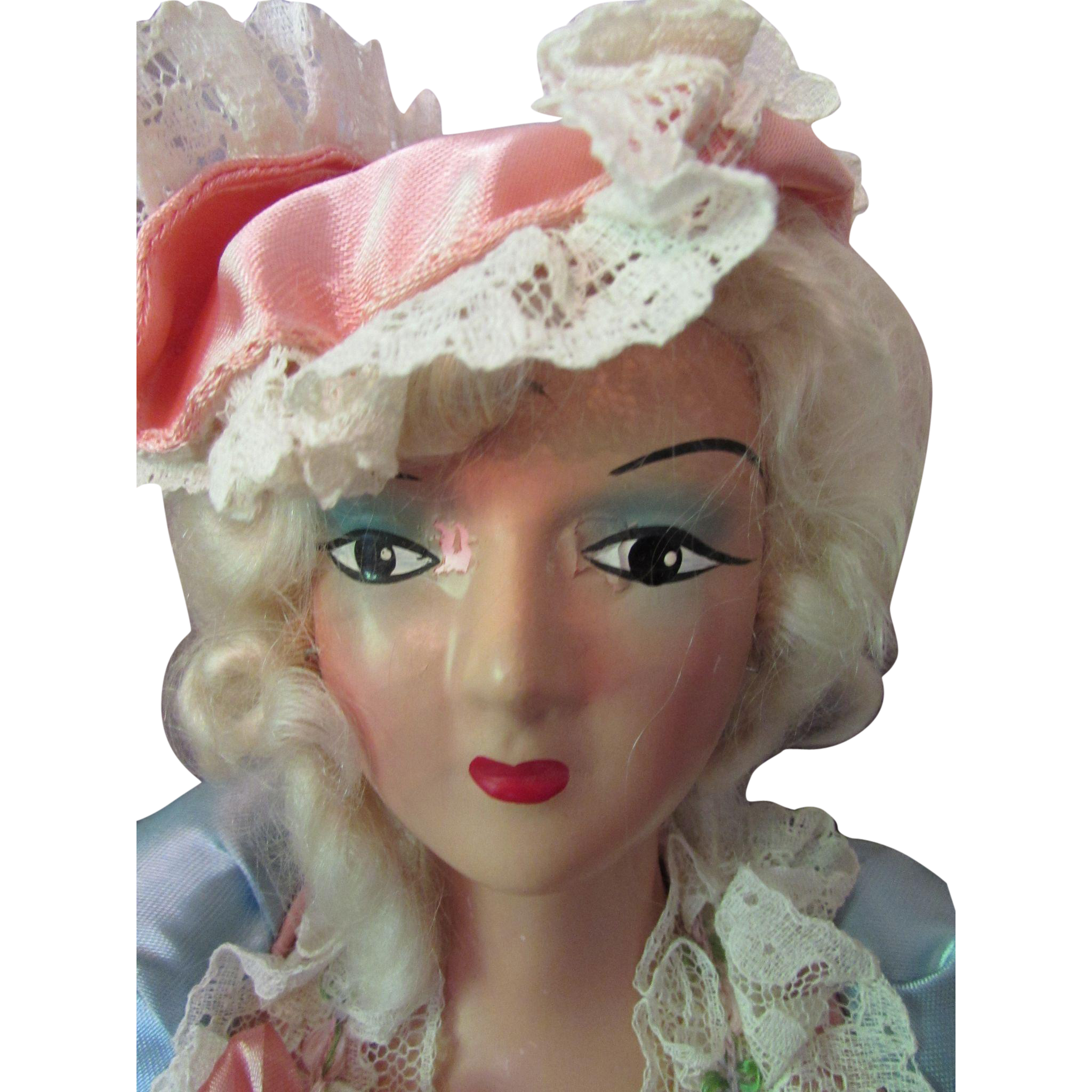 Fancy Boudoir Doll French Style Dressed in Pink and Blue Satin Aristocratic Curls