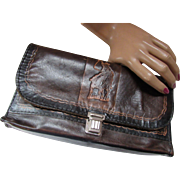 Handsome Leather Clutch Purse with Western Cowboy Theme in Dark Browns