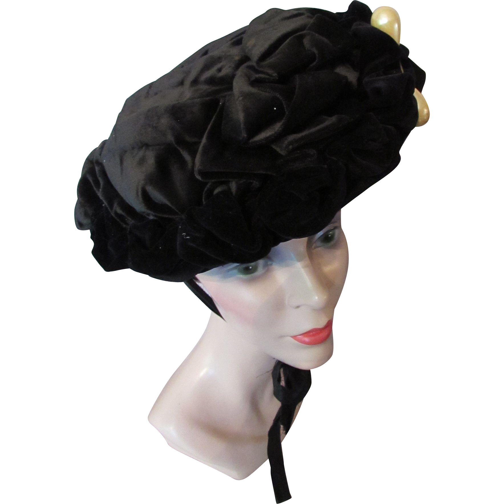 Victorian Era Black Velvet Hat with Faux Pearl Tear Drop Decoration