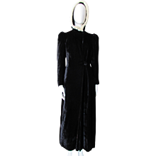 Opera Coat Hooded Black Velvet with White Rabbit Fur Trim