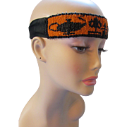 Vintage Seed Bead Head Band in Halloween Orange and Black and Strange Icons