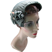 1950 Style Half Hat in Grayed Green Fabric with Pink Ribbon Accents