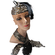 Jazz Style Silver and Gold Sequin Skull Cap and Matching Scarf with Feathers