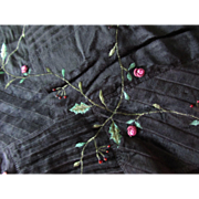 Black Velvet and Satin Fabric Patchwork Style with Embroidered Pink Flower Buds