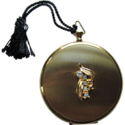 Vintage Compact Pocket Watch Style in Gold Tone with Rhinestone Decoration
