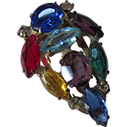 Sterling Mid Century Fur Clip in Multi Colored Rhinestones Tear Drop Shape
