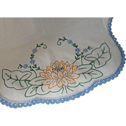 Cottage Style Vintage Dresser Scarf Embroidered Runner Marigold Water Lily on Green Lily Pad Blue Crochet Trim