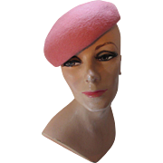 Coral Long Fur Felt Beret Style Hat by Joal de Luna