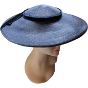 Mid Century Navy Straw Saucer Hat with Wide Brim by Pasadena