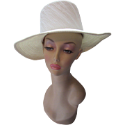 Cream Tone High Crown 1960 Style Hat with Wide Brim in Textured Fabric
