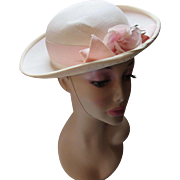 Spring Hat or Topper in Sunday School Style for Lady or Girl in Cream with Pink Rose