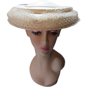 Mid Century Mushroom or Pagoda Hat in Cream Tone Fabric with Flocked Veil