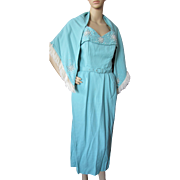 1950 Era Sundress and Shawl in Turquoise with White Beading by Mademoiselle Juliette
