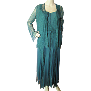 1930 Style Lace Evening Dress and Jacket in Emerald Green for the Mature Figure