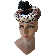 Amazing Vintage Tilt Hat 1940 Style in Faux Leopard Fur and Black Felt Feather New York Creation