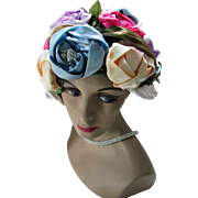 1960 Bubble Hat in Profusion of Satin Roses in Lavender, Blue, Yellow, Pink Mr. Henri