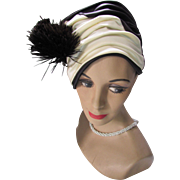 Dramatic Turban Style Hat in Black and Cream Satin with Fan Feather Decoration