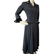 New Look Black Two Piece Jacket and Skirt in Faille and Velvet by Parklane Juniors