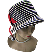 Fun Lampshade Style Hat in Navy White Stripes and Red Ribbon Tab E. . .E Boutique