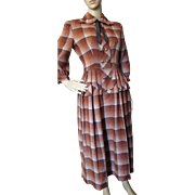 Fabulous Autumn Tone 1950 Orange and Brown Plaid Wool Dress by Johnny E Junior