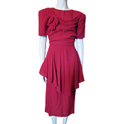 1940's Cocktail Dress in Lipstick Red Crepe with Peplum and Draped Bodice Trim