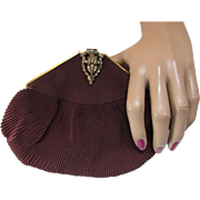 Vintage Clutch Purse in Chocolate Brown Fabric with Rhinestone Clasp '40's Style