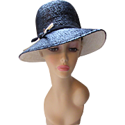 High Crown Navy Straw Hat with White and Navy Details by Emme Boutique Mid Century