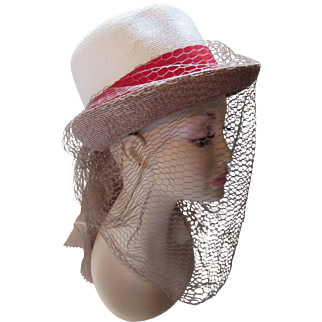 Unusual Vintage Hat in Cream, Cocoa and Red with Extravagant  Veil by William Silverman Mid Century