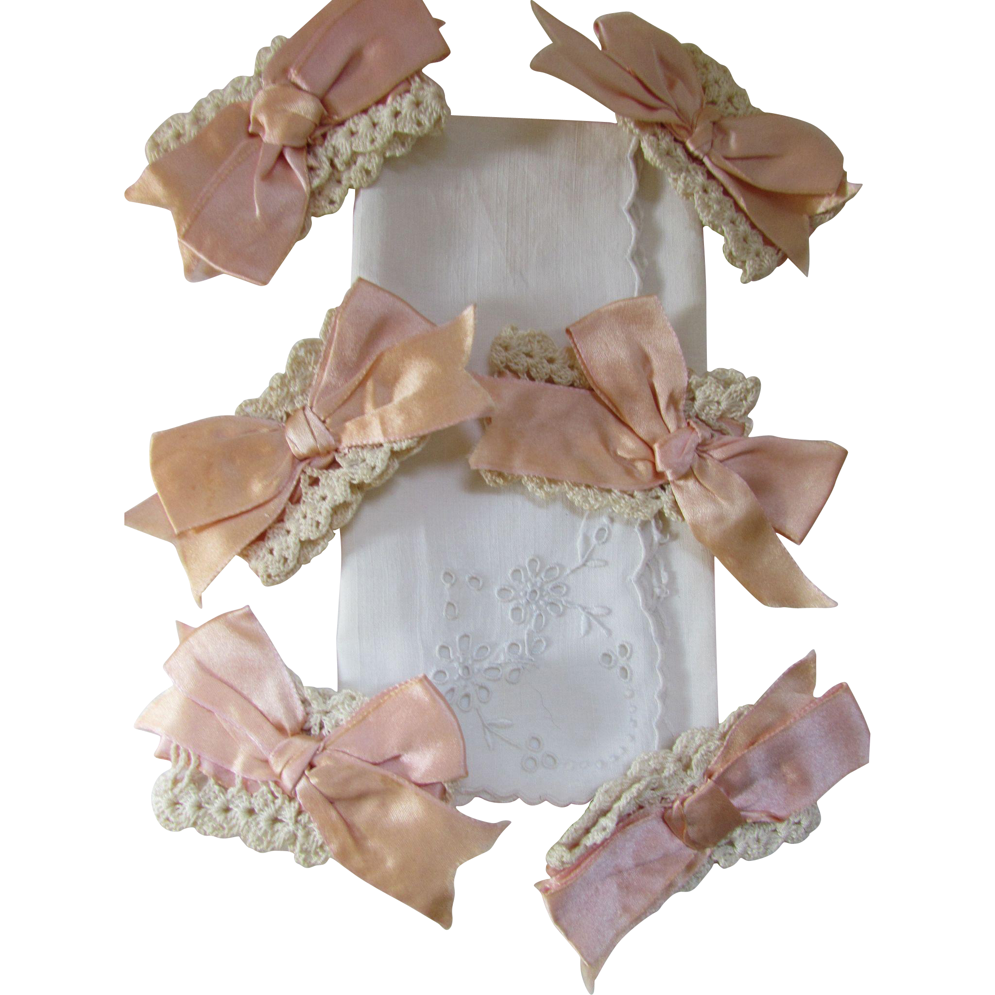 Six Crochet Napkin Rings in Pink Ribbon and Cream Crochet