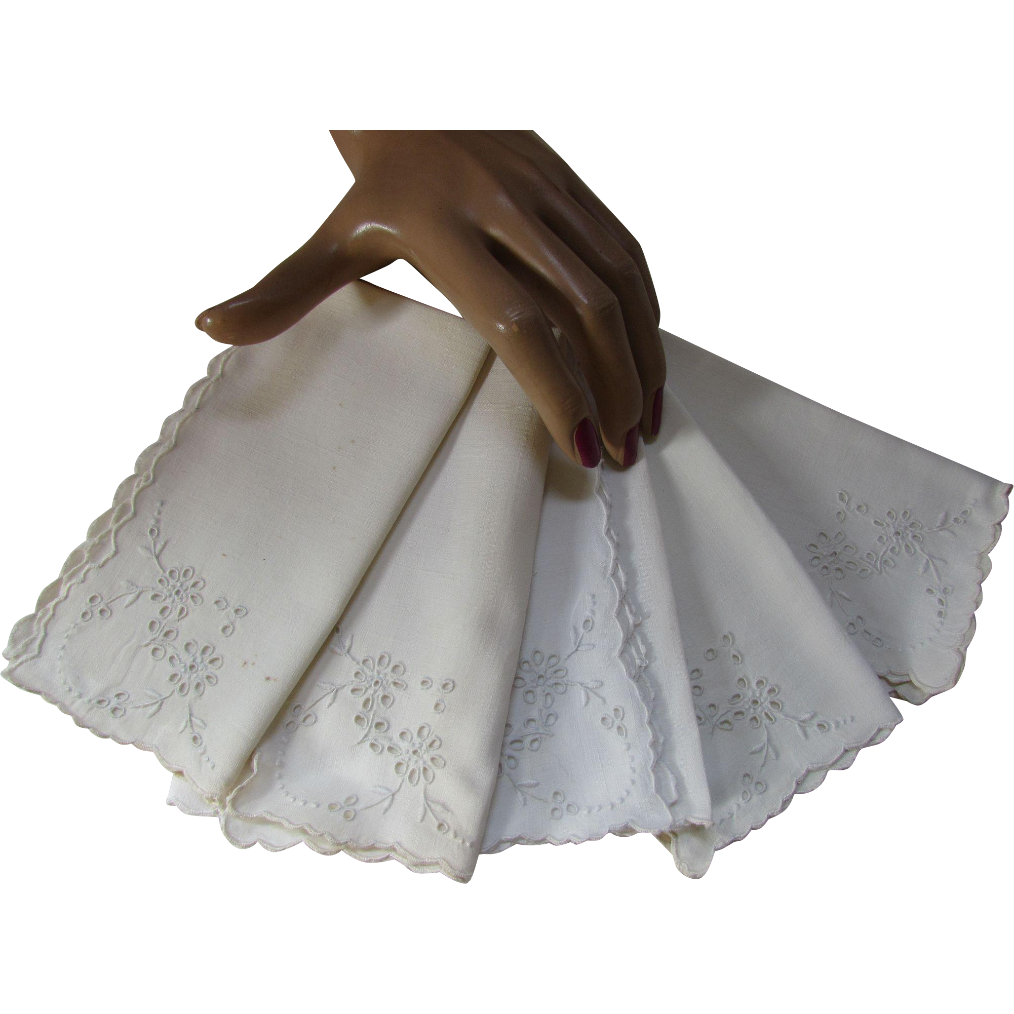 Vintage Luncheon or Tea Time Napkins in White Open Work