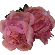 Vintage Millinery Roses In Shades of Pink on Black Velvet Platform Salvaged from Whimsy Hat