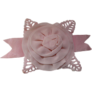 Pretty in Pink Millinery Flower Rosette Salvaged from Whimsy Hat Cut Out Leaves