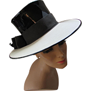 Mod Hat Black and Cream Patent Leather and Straw with Top Hat Crown
