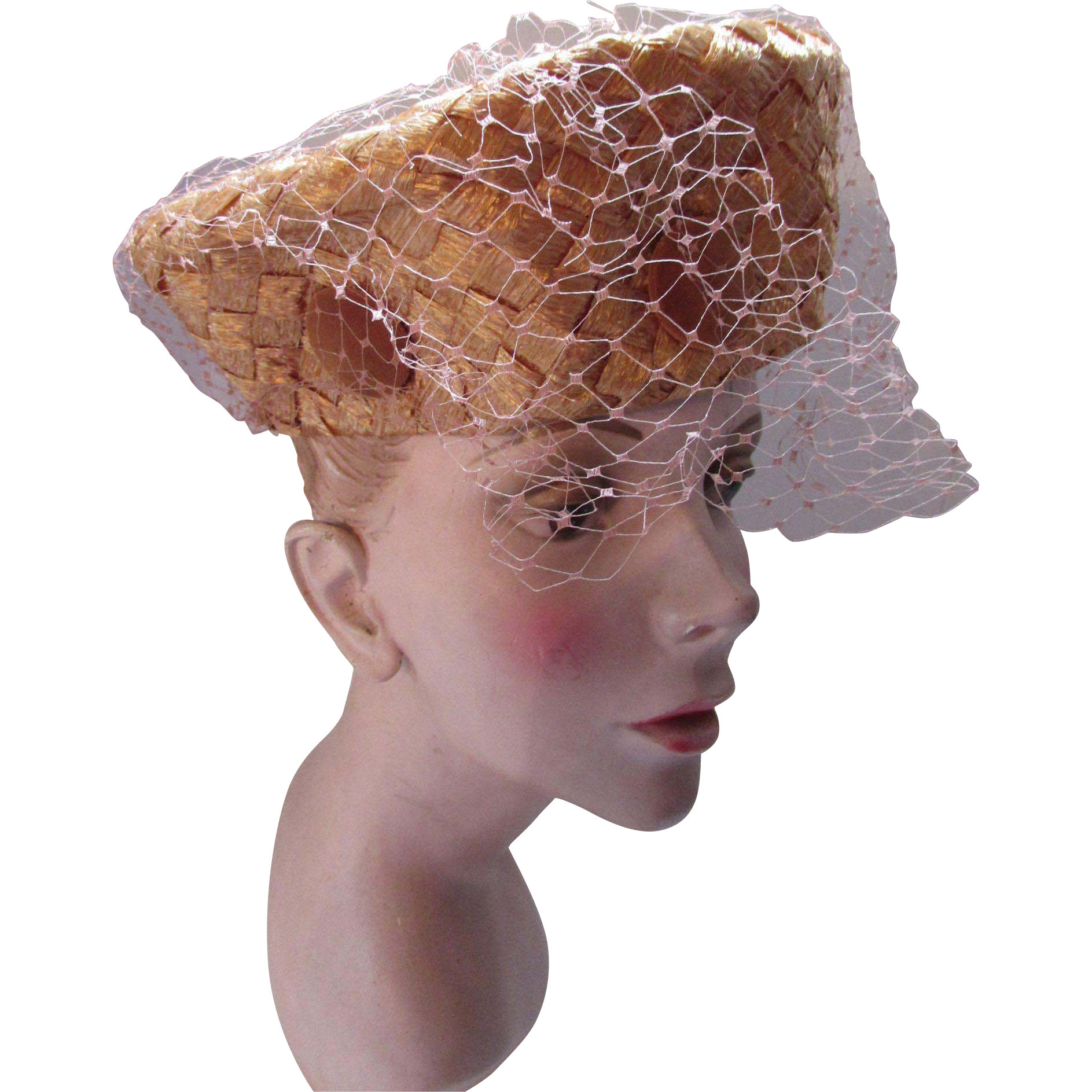 Amazing High Top Toque in Copper Cellophane Weave by Leslie James