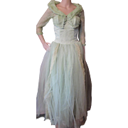 1950 Era Prom Dress and Bolero in Mint Green Lace and Tulle