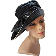 Mod Style Hat in Black Patent Leather and Cream Stitched Brim by Charo Original