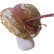 Sweet Open Work Straw Hat Cloche Style