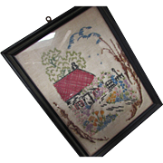 Cottage Style Vintage Hand Embroidered on Linen Home and Garden Scene Framed